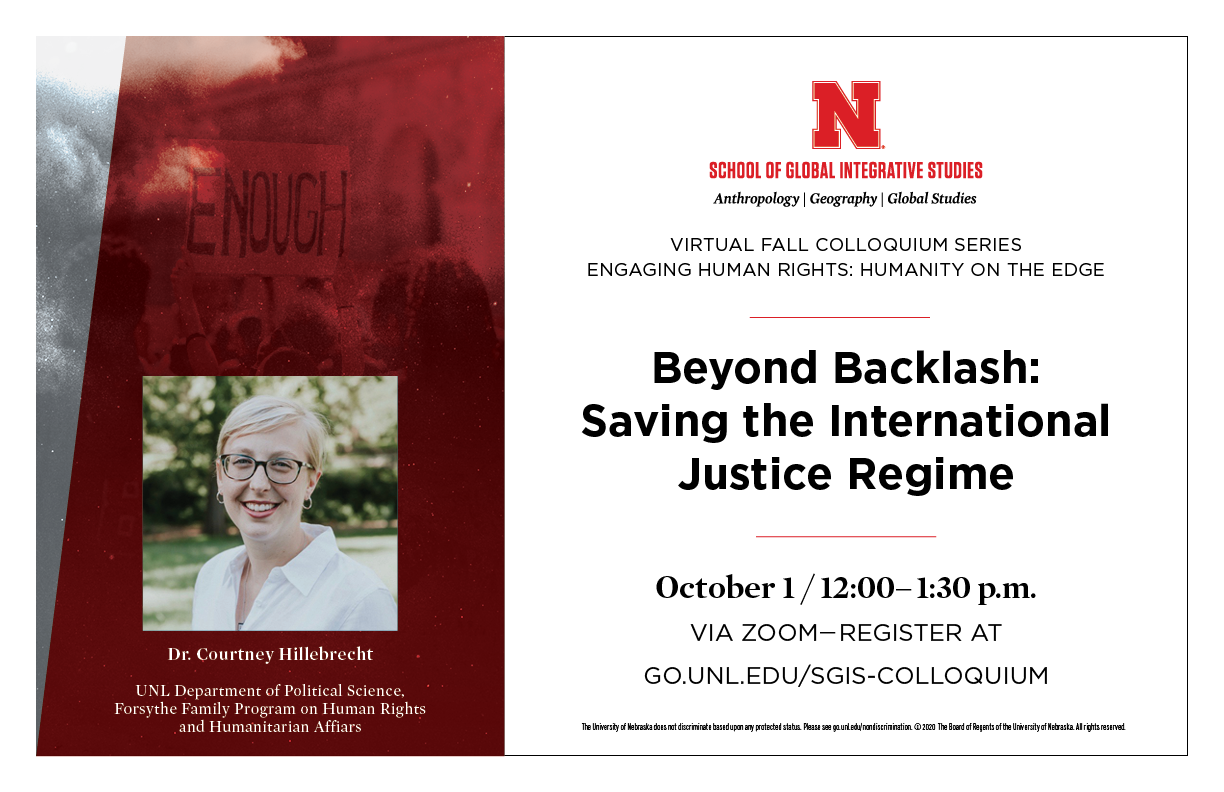Colloquium Series on engaging human rights begins with Dr. Courtney Hillebrecht