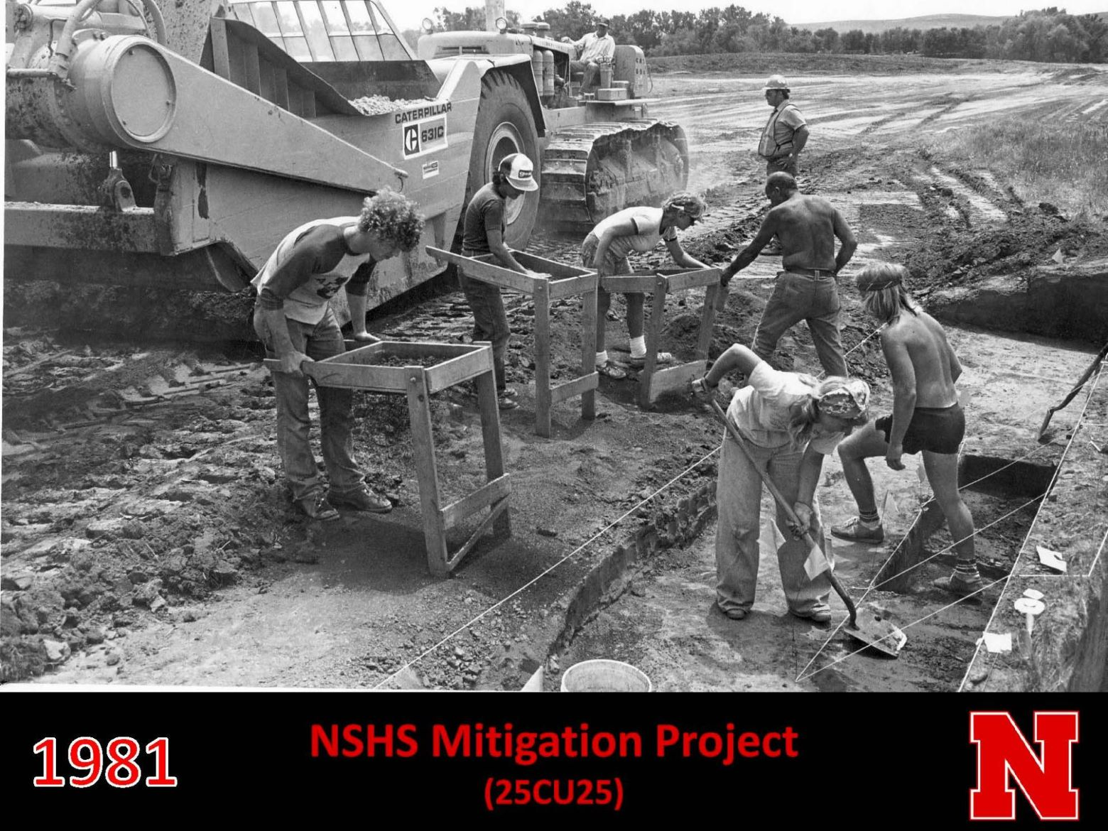Student in the field working on NSHS Mitigation Project in 1981